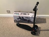 Maxi Micro Scooter Black Very Good/Excellent Condition with Box & Instructions plus Kiddimoto Helmet