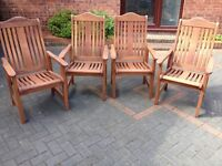 4 x Hardwood Garden Carver Chairs - excellent condition