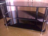"""Black glass 3 tier 32"""" tv unit"""