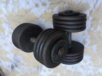 2x42.5kg dumbbells weights