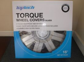 Torque 16 Inch Wheel Trim Set Silver Set of 4 Hub Caps Covers By TopTech