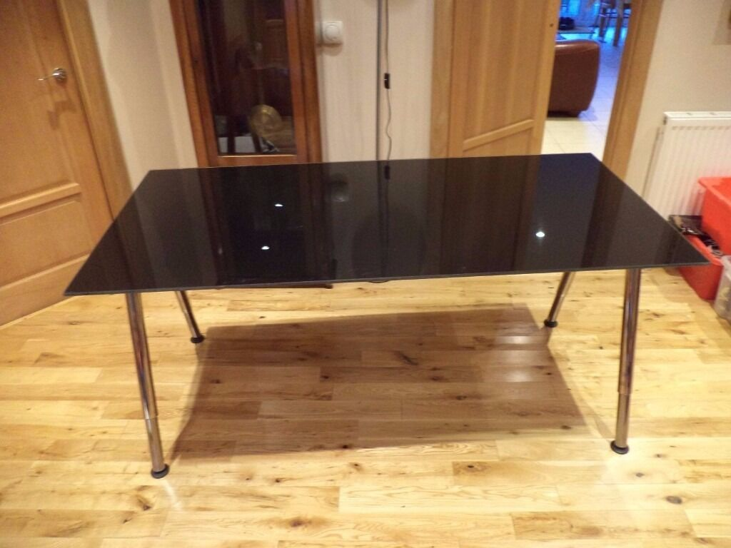 Ikea Galant Glass Desk Table With Smoked Black Top Office Study Computer Dining