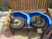 8 inch trailer wheels with rims and mudguard all for 40 pound cash on collection
