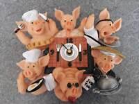 Fabulously fun Pigs Galore wall clock