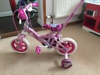 "Girls 10"" bike with parent handle"