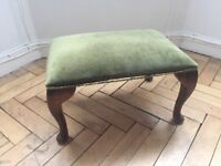 Antique Wooden Footstool Stool with Green Velvet Cover