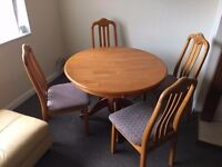 Round Dining table and set of 4 chairs