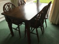 Dining table and 4 chairs solid wood