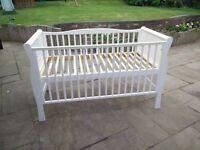 Kiddicare Sleigh Cot Bed - Wood White