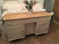 Beautiful Old Stripped Solid Pine Sideboard Cream Shabby Chic