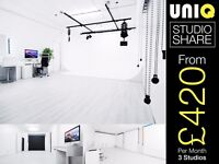 £420/Mth LONDON PHOTO STUDIO SHARE Hire Video Film Casting Space Pro Photography Photographer Wanted