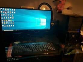 """Intel i5 skylake GTX 1070 gaming pc 29"""" wide monitor VR ready 3 year warranty"""