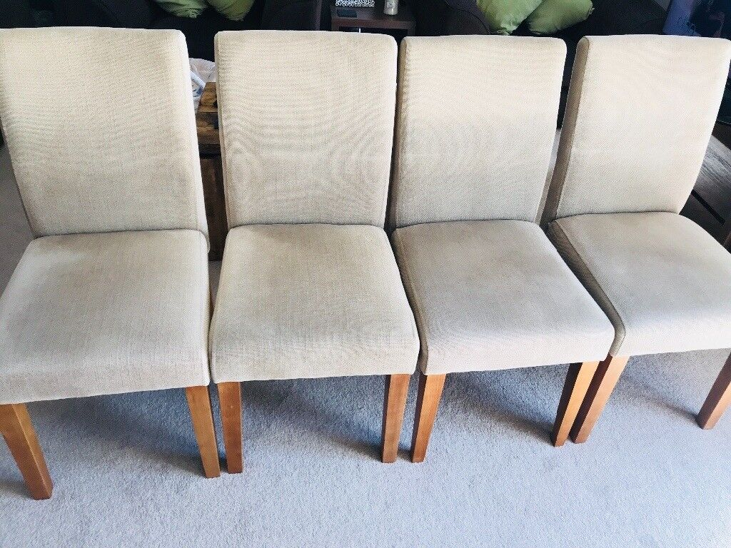 Next Moda Dining Chairs X4 Excellent Condition Natural Weave Material With Wooden Legs