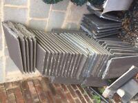 Grey concrete roof tiles