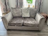 Crushed velvet 2 & 3 seater sofas, armchair and cuddle chair