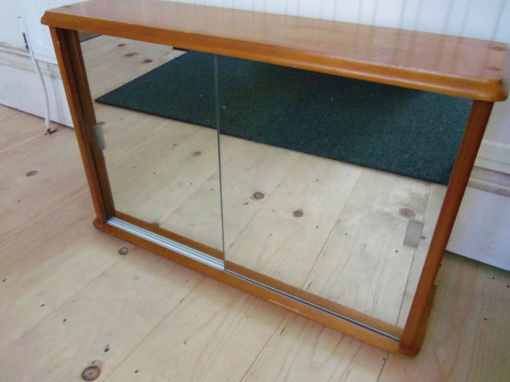 Pine wood bathroom wall cabinet + double sliding Mirror doors