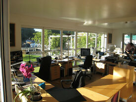 Desk space available in a lovely river-side island office