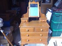 Solid pine dressing table/chest of drawers
