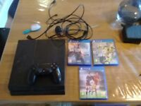 Ps4 in good condition, hdmi cable, 1 controller + ear piece, battlefield 1, fifa 17, fifa 16