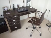 Desk, pedestal and matching chair in brown faux leather finish