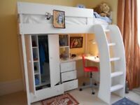 Kids bedroom set (bed, wardrobe, curved desk, chest of 3 drawers & book shelf)