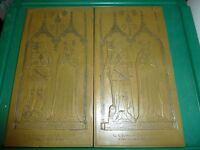 2 BRASS ICON PLAQUES READ: SIR S. FELBRYGGE AND WIFE AD 1416 FELBRYGGE, NORFOLK, ENGLAND.