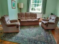 Three piece suite with bed settee.
