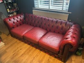 Ox Blood Red Leather Chesterfield Sofa