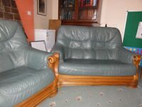 Green Leather 2 seater sofa and matching armchair