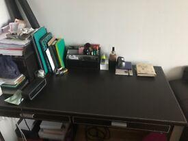 John Lewis Faux Brown Leather Desk