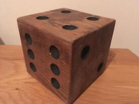 Handcrafted wooden dice ornament