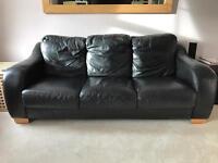 Three Seater Black Leather Sofa