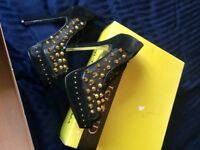 River island gold studded heels