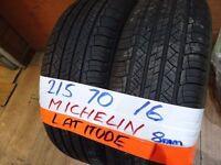 matching pair of 215 70 16 michelin latitudes 7mm tread £50 pair sup & fittd(LOADS MORE AV 7-DAYS)