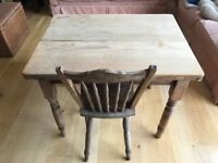 Pine wood table with 1 drawer, and a chair