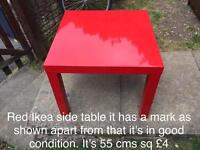Red Ikea side table