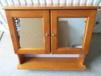 Pine wood bathroom wall cabinet + shelving + mirror doors