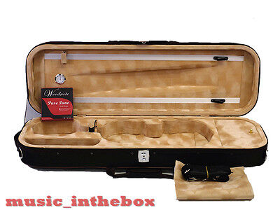 Great / Enhanced 4/4 Foamed/Oblong Shape Black Violin Case+Free violin String