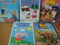 BUNDLE OF 5 TODDLERS DVD'S PEPPER PIG, POSTMAN PAT ,BOB THE BUILDER USED GOOD CONDITON