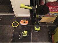 Power tools: Ryobi Angle Grinder 2 batteries 4.0ah &1.5ah with discs