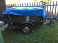 Trailer with heavy duty springs. Can be used for camping. Complete with jockey wheel & spare wheel.