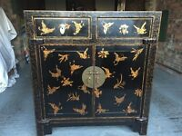 Black Lacquered Chinese Storage Cabinet - Large