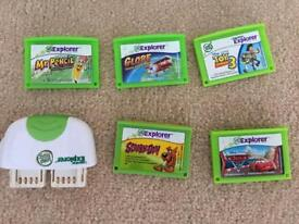 Leapster explorer 5 games, camera and case