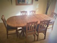 Dining room table (rustic pine) with 6 chairs