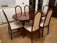 MAHOGANY EXTENDABLE TABLE + 6 CHAIRS