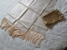 Ladies Gold effect Stole and Clutch Bag