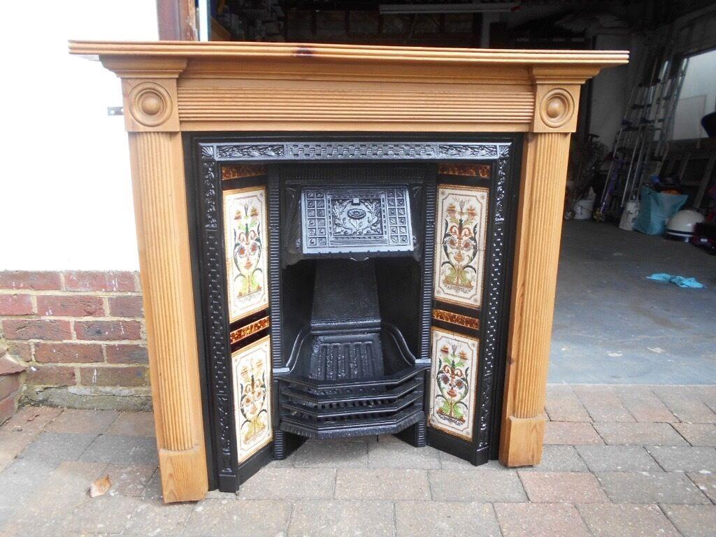beautiful victorian edwardian or art deco cast iron fireplace