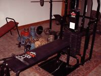York 2001 multi gym with spare bench, dumbbells and barbells