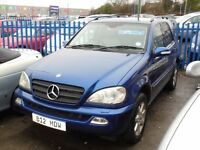 MERCEDES ML270 CDI AUTO TURBO DIESEL 2688cc 5 DOOR 2001- ON PRIVATE PLATE, LOOK ONLY 130K