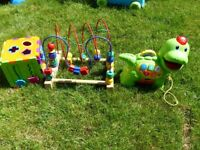 SET OF 3 TOYS DINO-VTECH, CLOCK+SHAPES, BOAD ROLLER COSTER-IKEA
